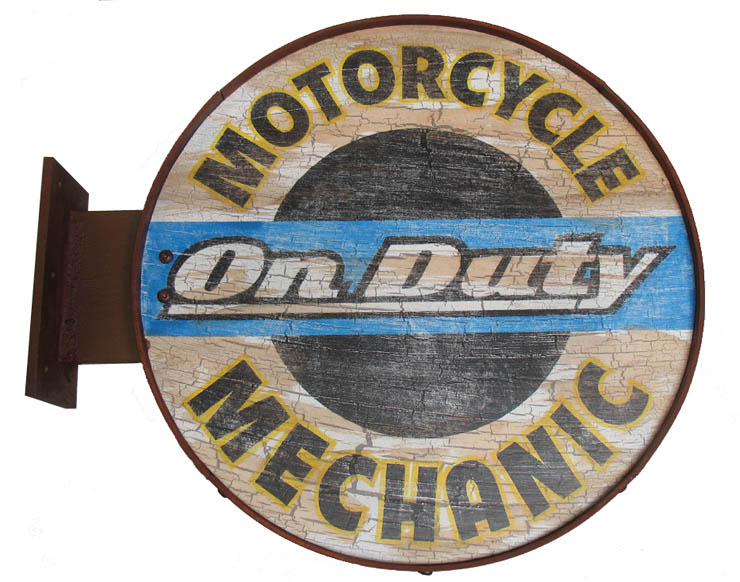 motorcycle mechanic on duty wood sign in cleared wood signs