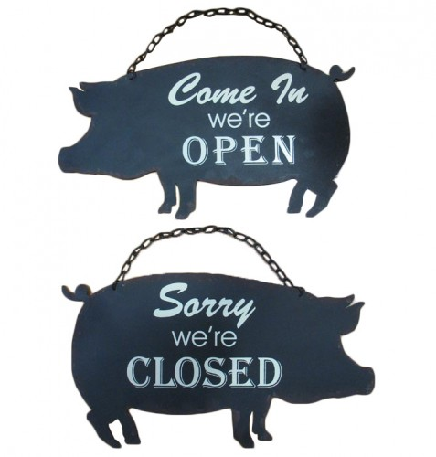 pig open and closed sign