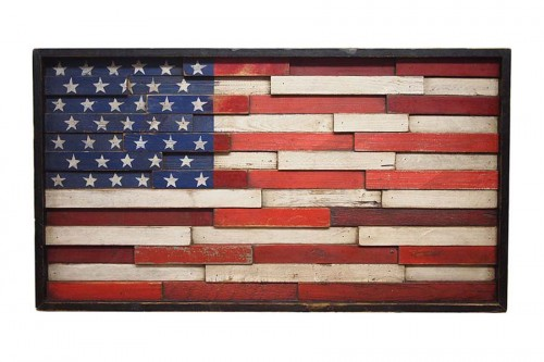 American Flag Wood Wall Decor In Country Cafe
